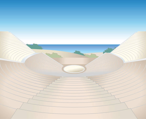 Amphitheater ruins image Illustration of landscapes. It is made with vector. amphitheater stock illustrations