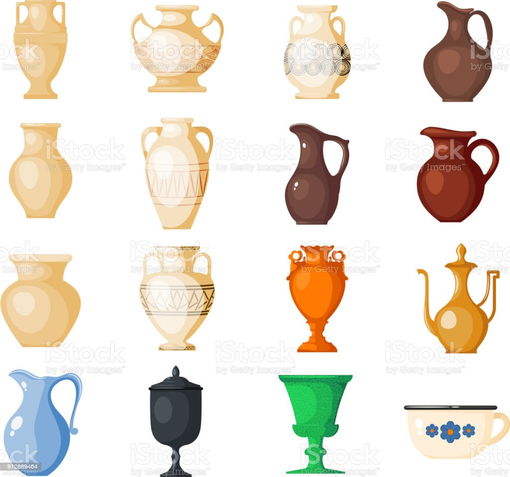 Amphora vector amphoric ancient greek vases and symbols of antiquity and Greece illustration set isolated on white background vector art illustration