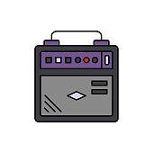 Amplifier, audio, bass icon. Element of color music studio equipment icon. Premium quality graphic design icon. Signs and symbols collection icon