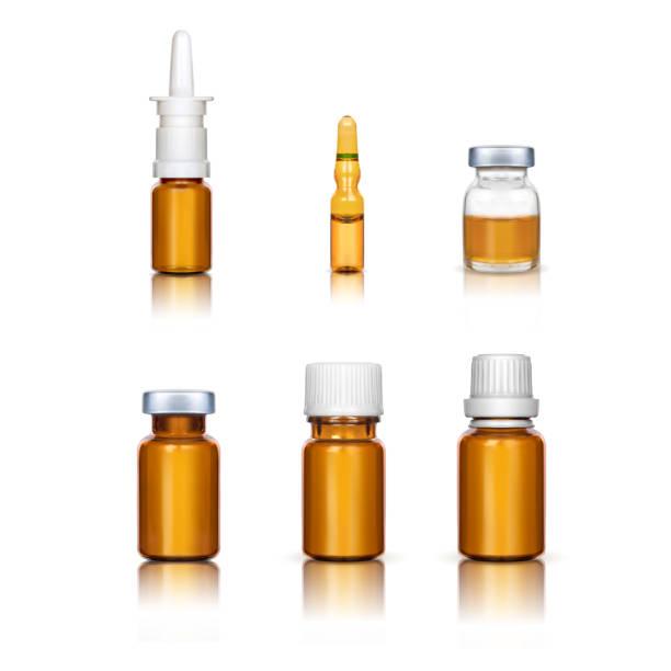 흰 배경에 설정된 앰플과 의료병 - 앰풀 stock illustrations