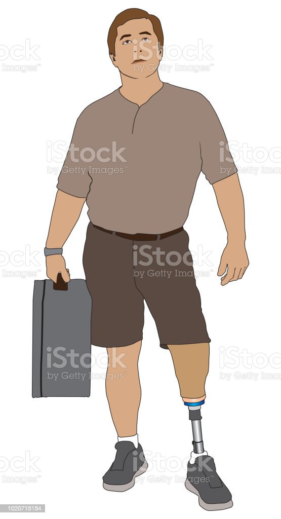Amputee Carrying Suitcase vector art illustration