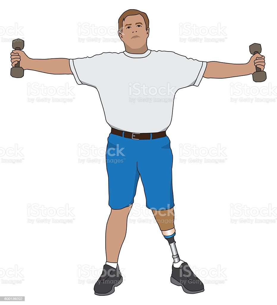 Amputee Exercising With Weights vector art illustration