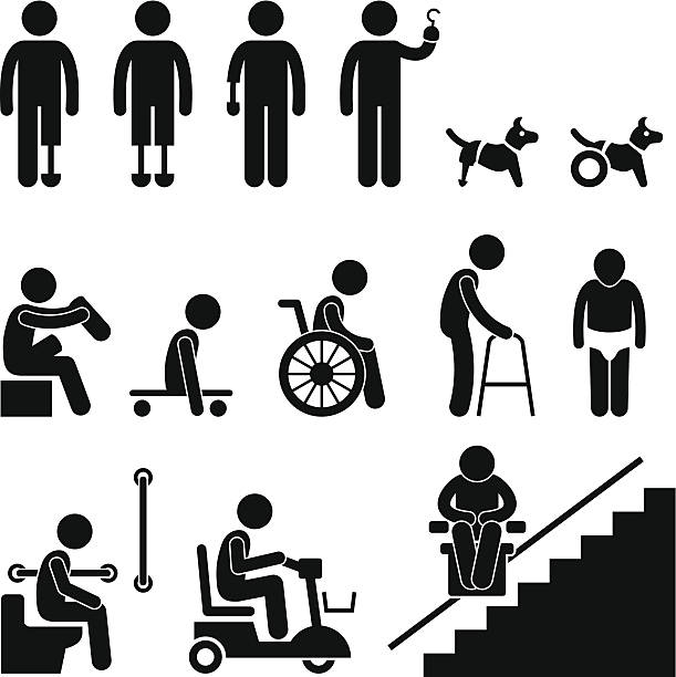 Amputee Handicap Disable People Man Pictogram A set of stick figure people pictograms representing amputee, handicap, and disabled people with their equipment and tools. one senior man only illustrations stock illustrations