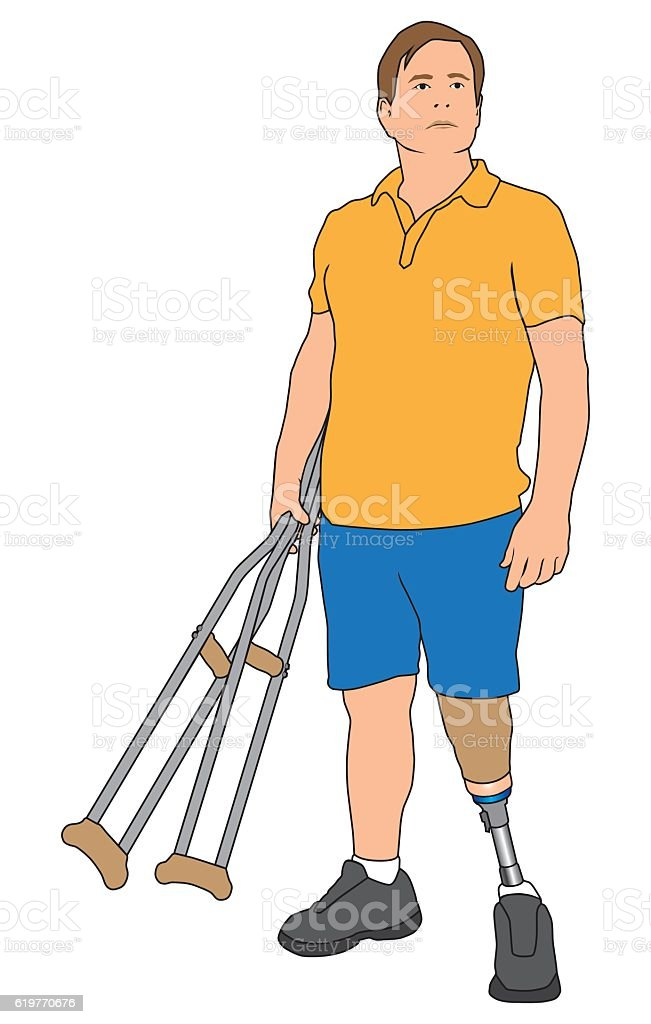 Amputee Holding Crutches vector art illustration