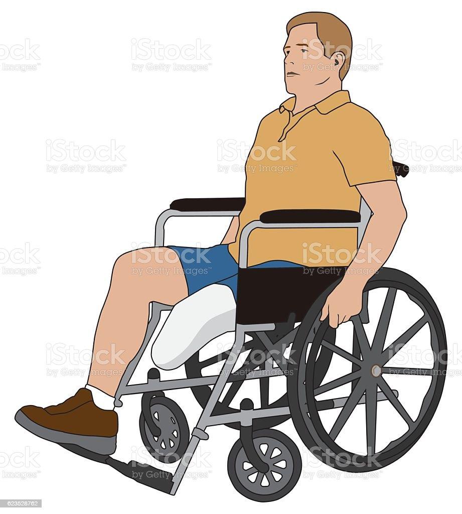 Amputee in Wheelchair vector art illustration