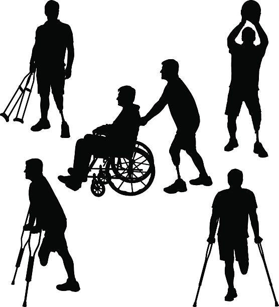 amputee silhouettes 11 - wheelchair sports stock illustrations, clip art, cartoons, & icons