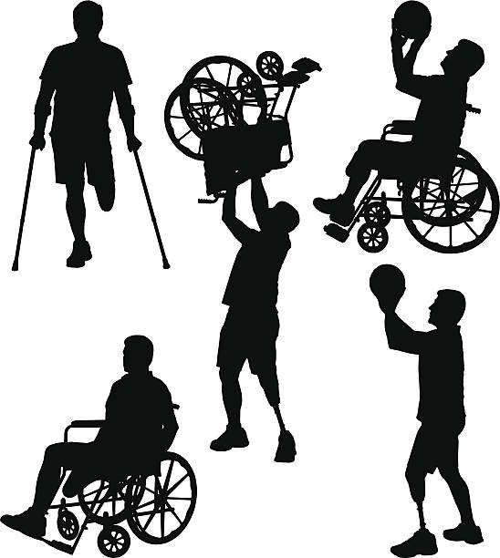 amputee silhouettes 12 - wheelchair sports stock illustrations, clip art, cartoons, & icons