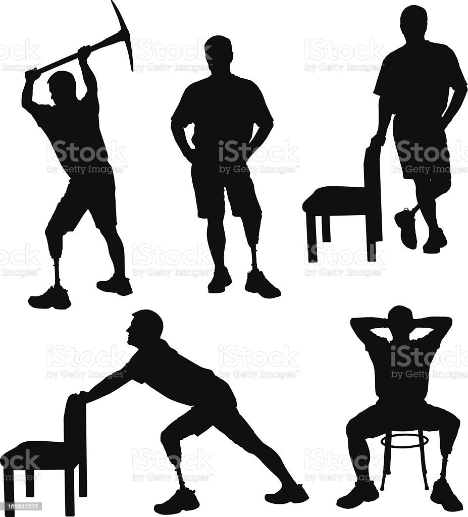 Amputee Silhouettes 4 vector art illustration