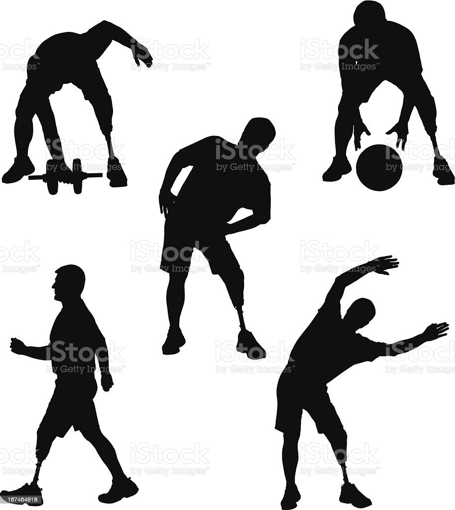 Amputee Silhouettes 5 vector art illustration