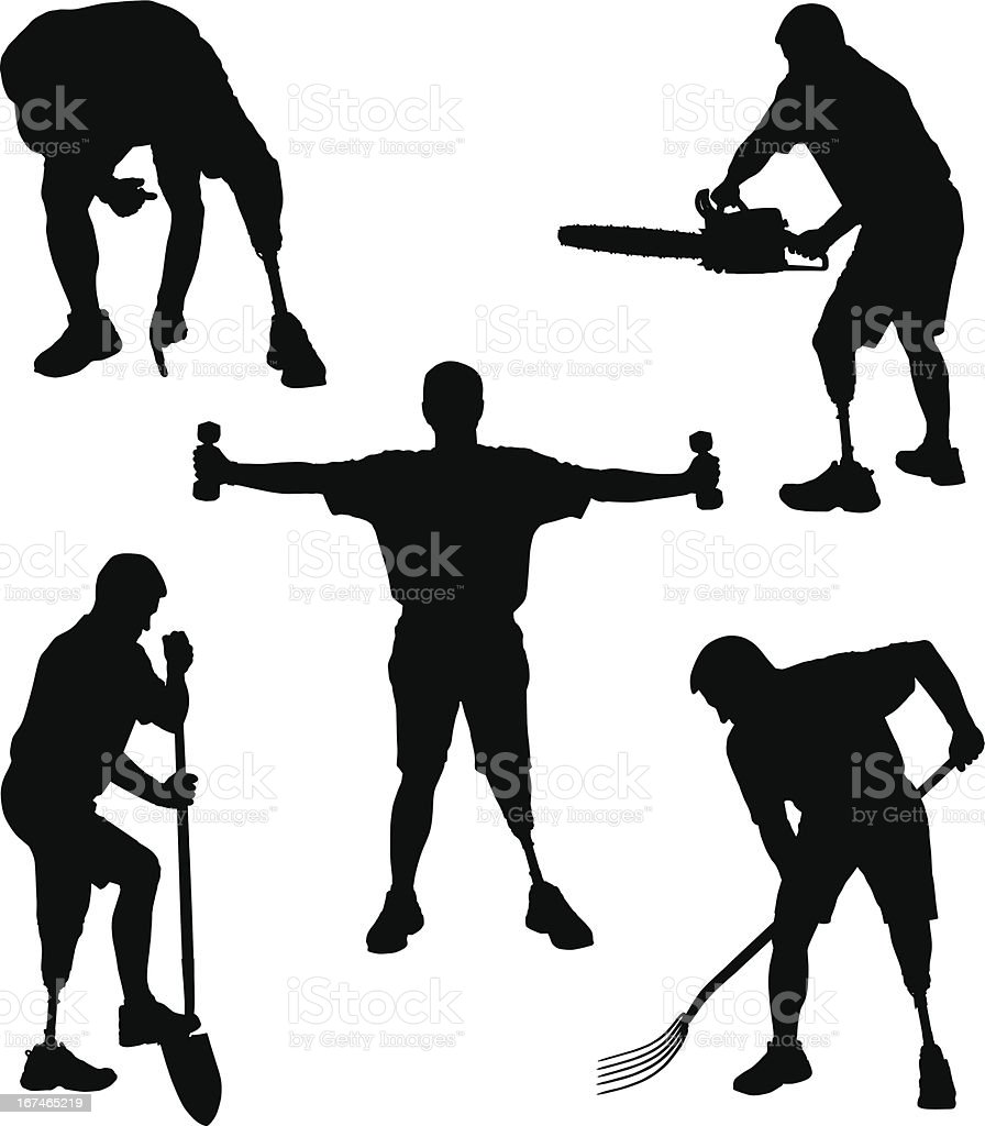 Amputee Silhouettes 6 vector art illustration