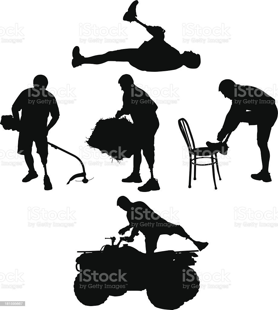 Amputee Silhouettes 7 royalty-free stock vector art