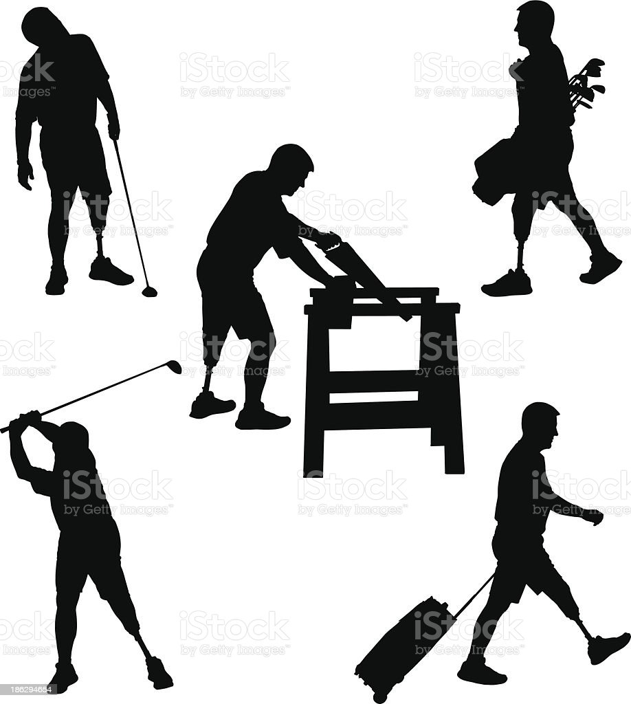 Amputee Silhouettes 9 vector art illustration