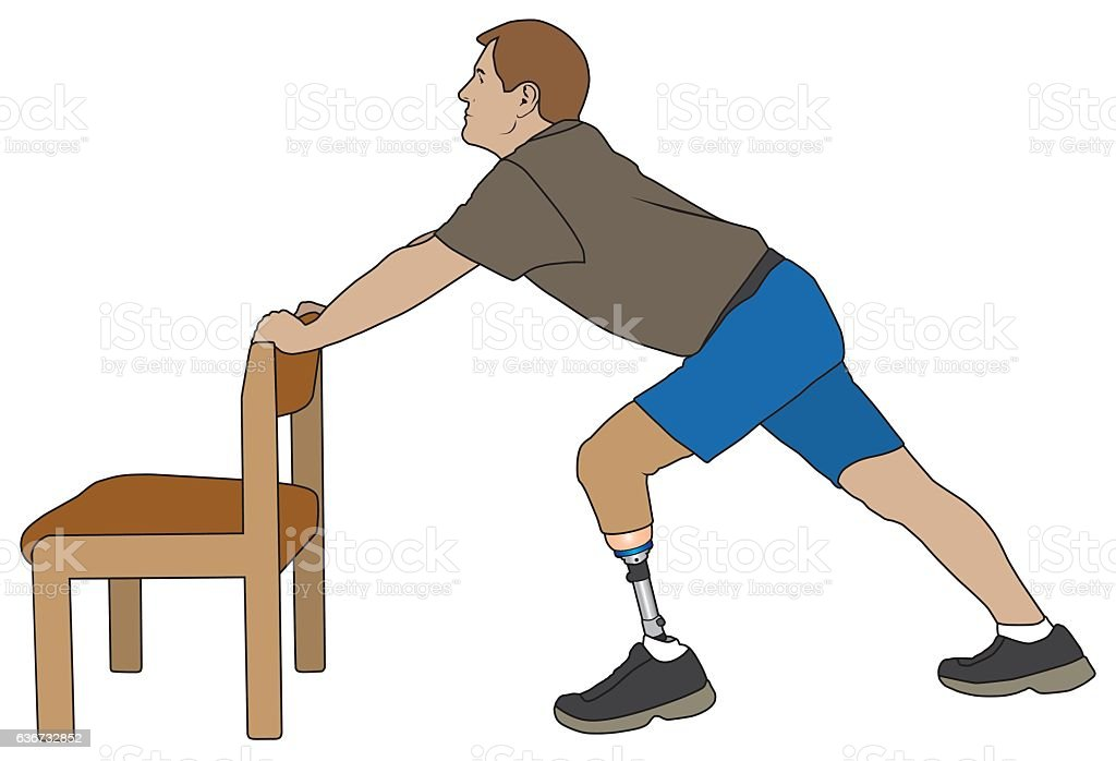 Amputee Stretching With Chair vector art illustration