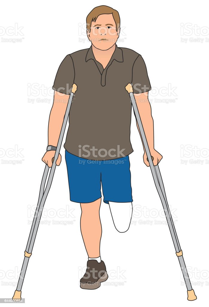 Amputee Using Crutches vector art illustration