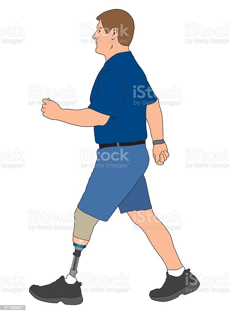 Amputee Walking vector art illustration