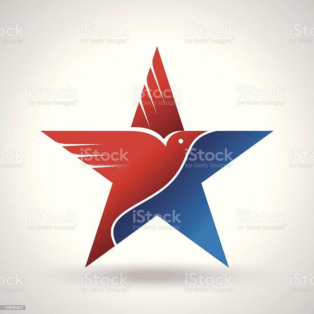 Amrical flag and eagle vector art illustration
