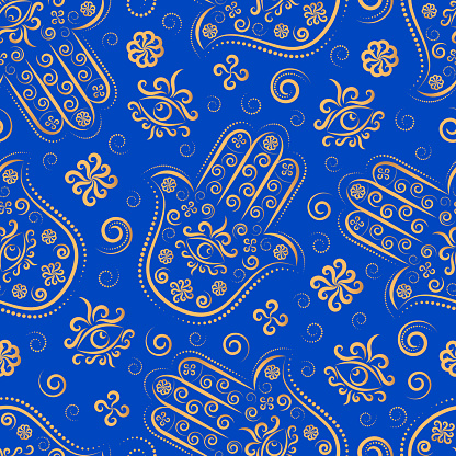 Нamsa line ornament vector seamless pattern.