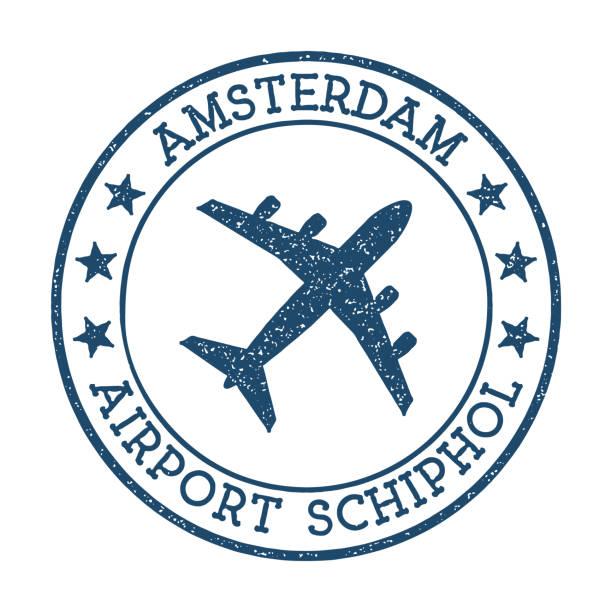 stockillustraties, clipart, cartoons en iconen met amsterdam airport schiphol logo. - schiphol