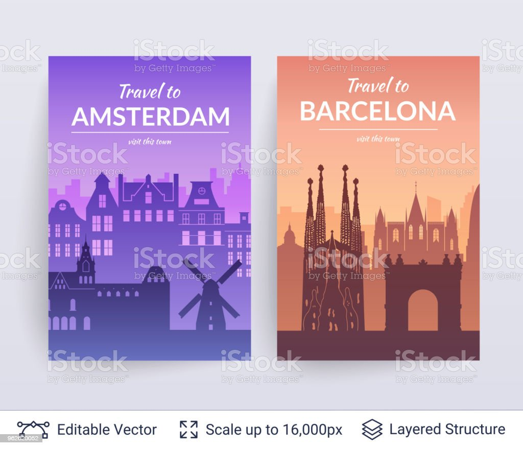 Amsterdam And Barcelona Famous City Scapes Stock Vector Art & More