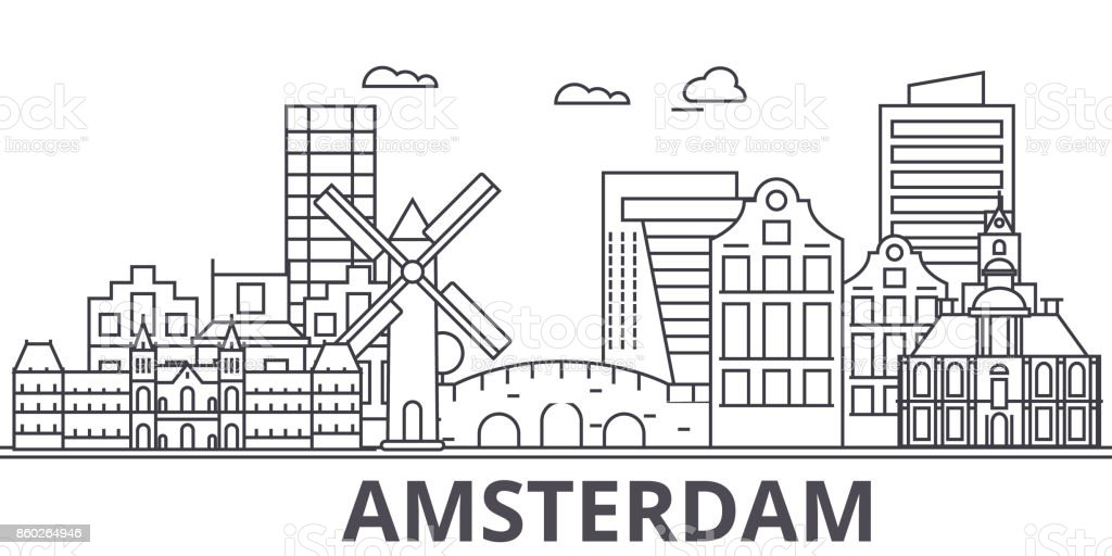 Amsterdam architecture line skyline illustration. Linear vector cityscape with famous landmarks, city sights, design icons. Landscape wtih editable strokes vector art illustration