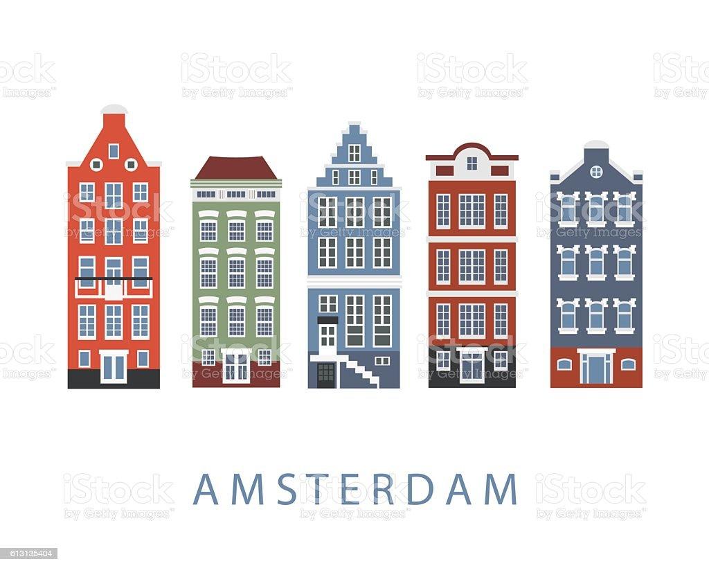 Amsterdam city buildings set vector art illustration