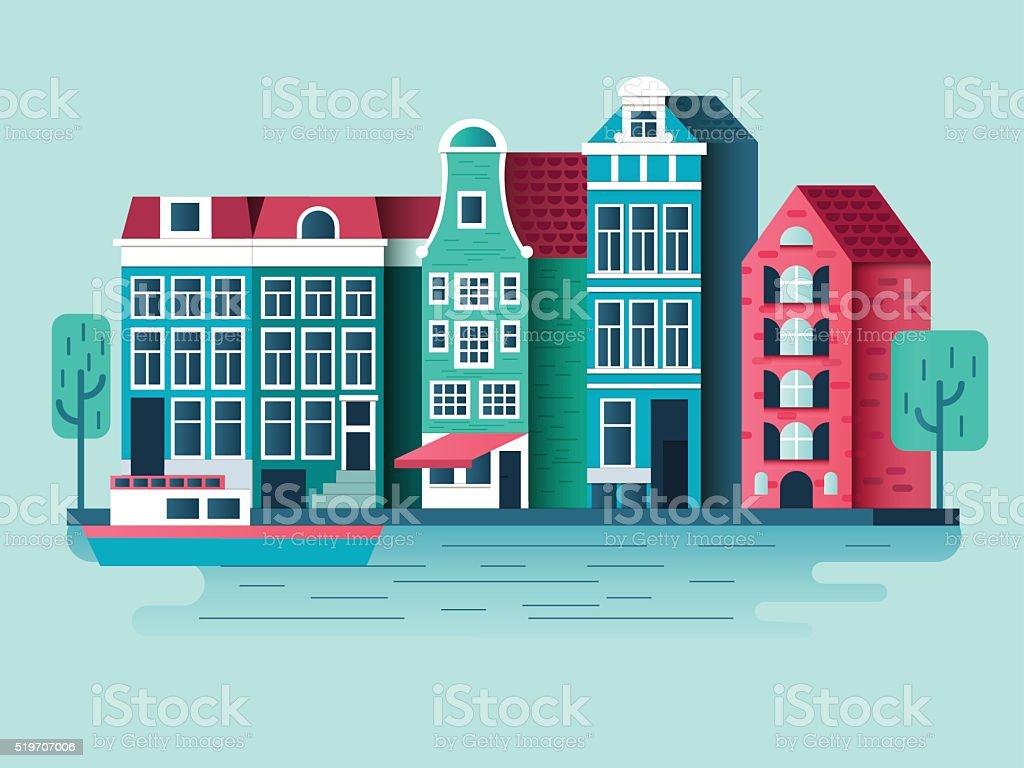 Amsterdam city design flat vector art illustration