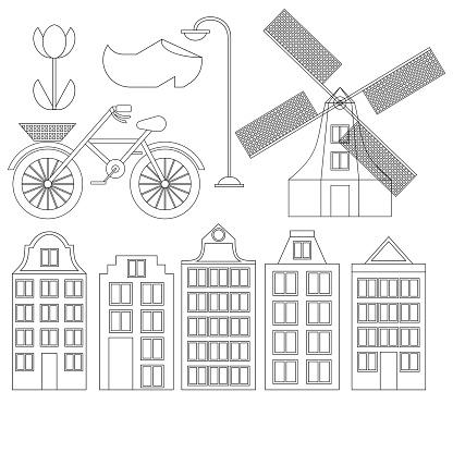 Dessin Au Trait Plat Amsterdam City Historique De Voyage