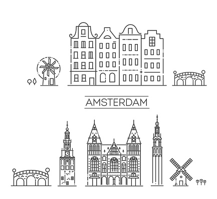 Amsterdam City Line Silhouette. historical building
