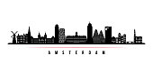 Amsterdam city skyline horizontal banner. Black and white silhouette of Amsterdam city, Netherlands. Vector template for your design.