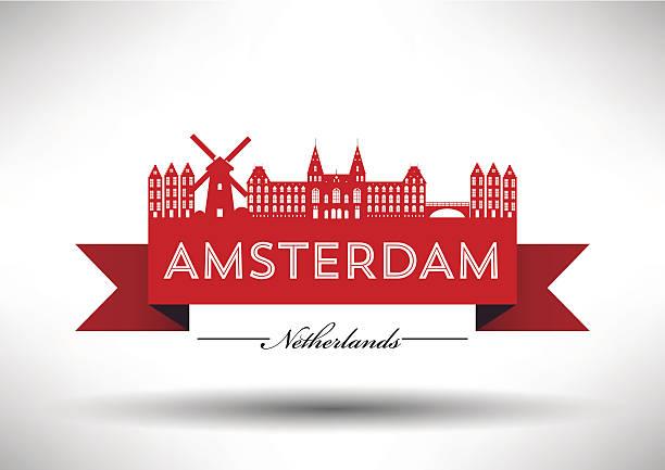 Amsterdam City Skyline with Typographic Design EPS 10. Easily editable typographic design series. rijksmuseum stock illustrations