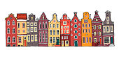 Amsterdam colorful vector sketch hand drawn illustration. Cartoon outline houses facades in a row isolated on white background