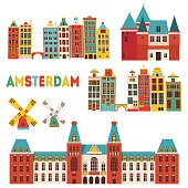 Amsterdam detailed famous monuments. Vector illustration