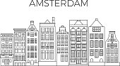 Amsterdam houses city panorama. Dutch street buildings vector skyline. Skyline street city architecture line style illustration