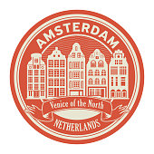 Abstract rubber stamp with words Amsterdam, Netherlands inside, vector illustration