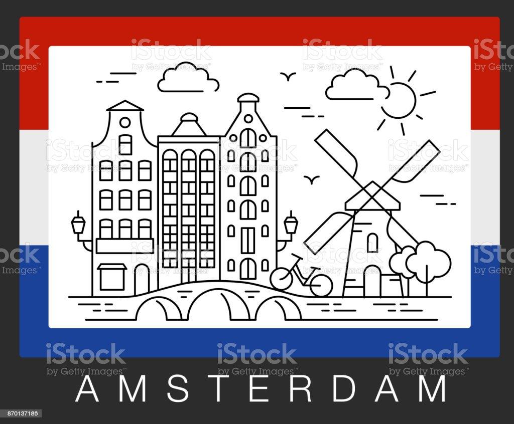 Amsterdam, Netherlands. Vector illustration of city sights vector art illustration