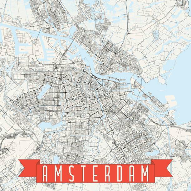 stockillustraties, clipart, cartoons en iconen met amsterdam, nederland vector kaart - schiphol