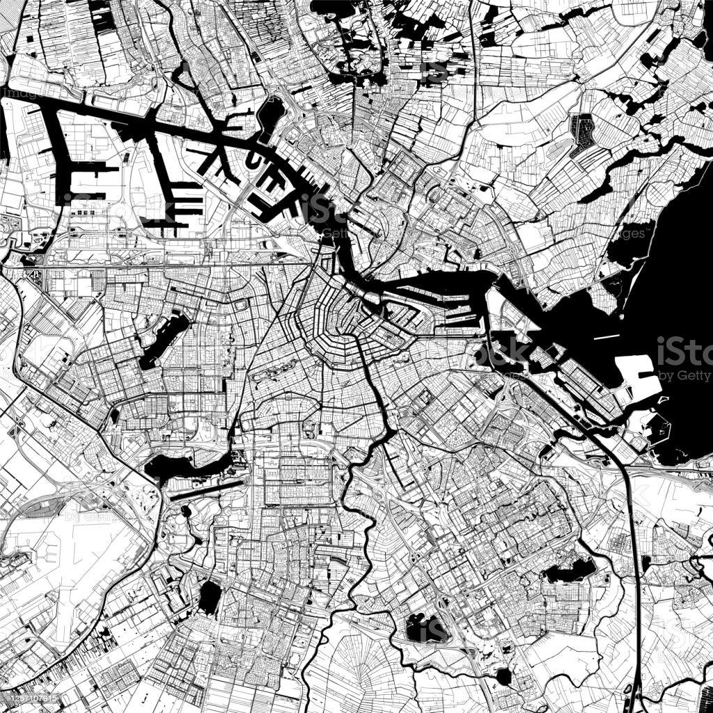 Amsterdam, Nederland Vector Kaart - Royalty-free Amstel vectorkunst