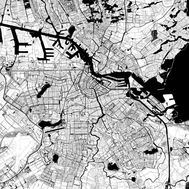 illustrations, cliparts, dessins animés et icônes de amsterdam, pays-bas vector map - dam