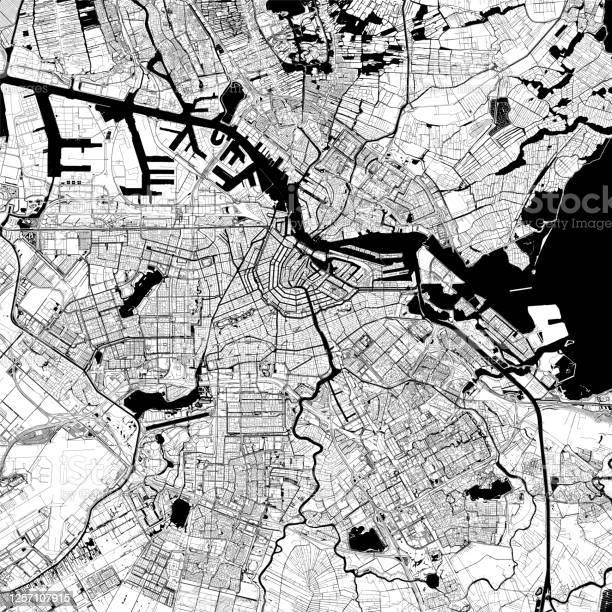 Amsterdam Nederland Vector Kaart Stockvectorkunst en meer beelden van Amstel