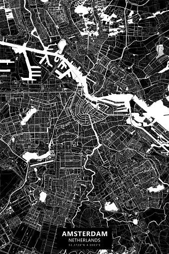 Amsterdam, Netherlands Vector Map