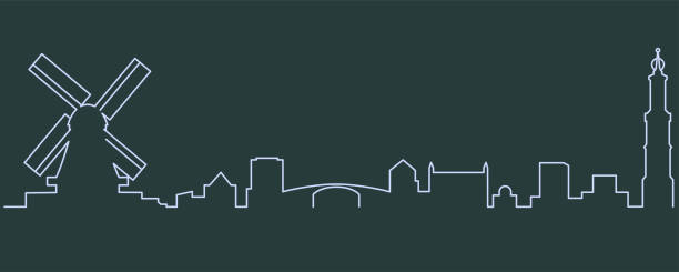 amsterdam single line skyline - holandia stock illustrations