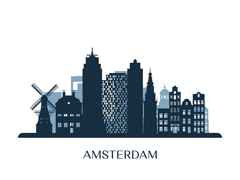 Amsterdam skyline, monochrome silhouette. Vector illustration.