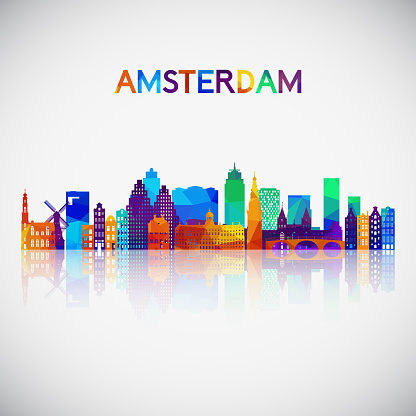 Amsterdam skyline silhouette in colorful geometric style. Symbol for your design. Vector illustration.