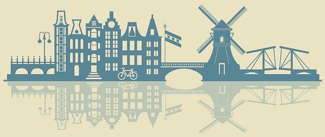 Amsterdam Skyline Stok Vektör Sanatı & Amsterdam'nin Daha Fazla Görseli