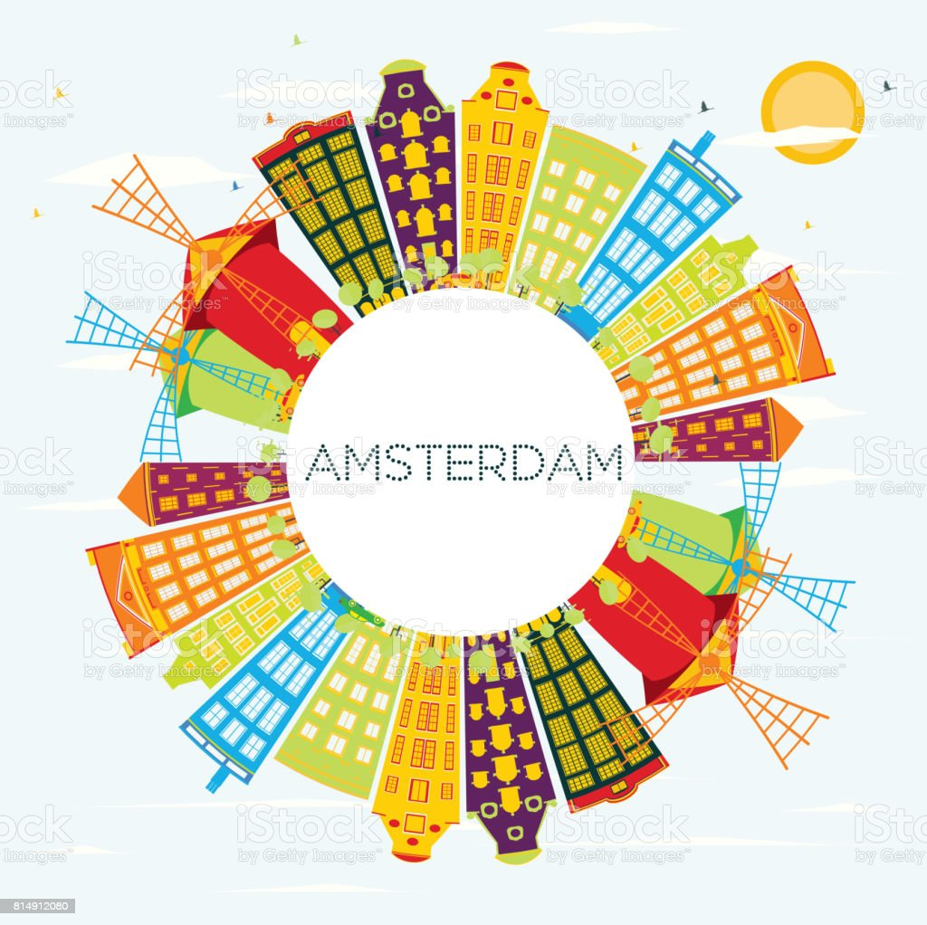 Amsterdam Skyline with Color Buildings, Blue Sky and Copy Space. vector art illustration