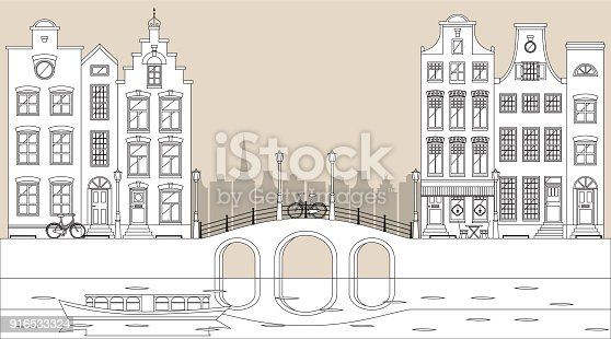 istock Amsterdam traditional houses view with bridge, canal and boat, old city center. Vector illustration, flat design template 916533324