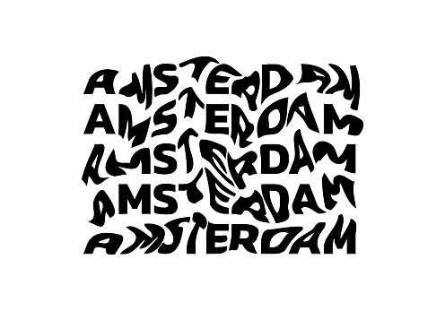 Amsterdam typography text or slogan with wavy letters. T-shirt graphic with ripple or glitch effect. Abstract print, banner, poster, emblem design. Vector illustration.