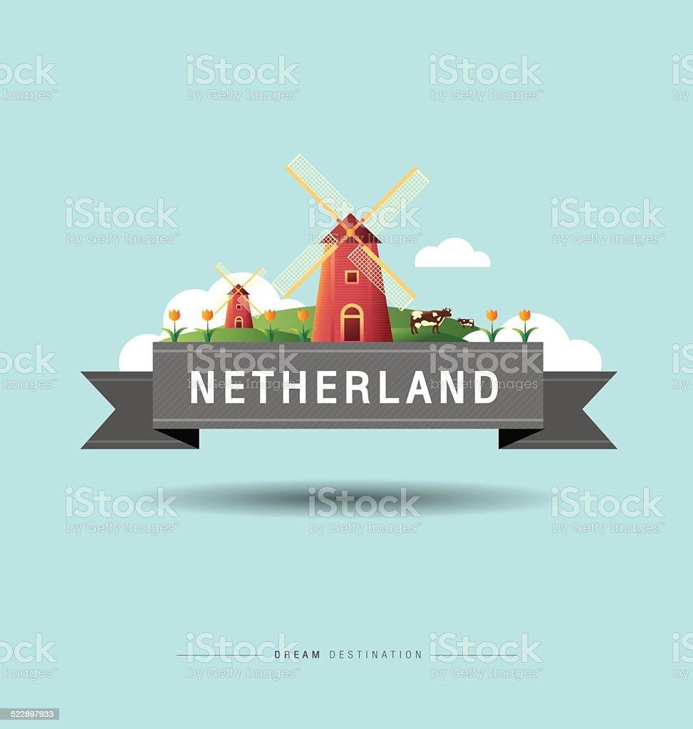 Amsterdam, windmill, Netherlands, travel, Landmark vector art illustration