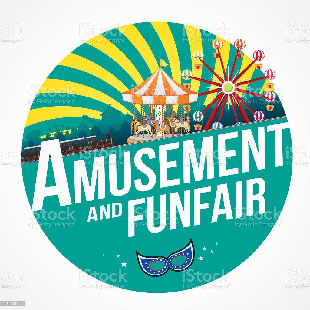 amusement and funfair vector art illustration