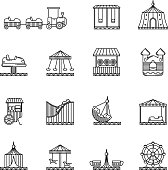 Amusement, circus and carousel linear vector icon set